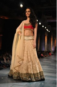 Shraddha Kapoor Cream Lehenga Choli At Mijwan Fashion Show 2012