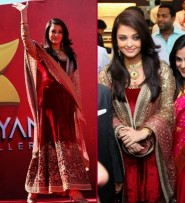 Aishwarya Rai In Maroon Velvet Anarkali Suit At Kalyan Jewellers Launches In Dubai