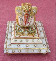 marble gold painted king ganesh chowki