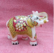 marble gold painted elephant pair