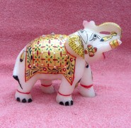 marble  painted elephant pair
