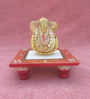 marble gold painted ganesh chowki