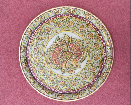 Marble ambossed fish plate