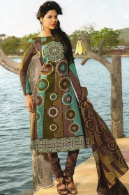 Gleaming casual wear printed cotton salwar Suit