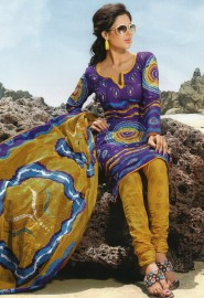 Glamorous casual wear printed cotton salwar kameez