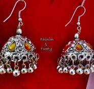 yellow oxidized jhumka