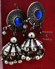 blue charm oxidized earrings
