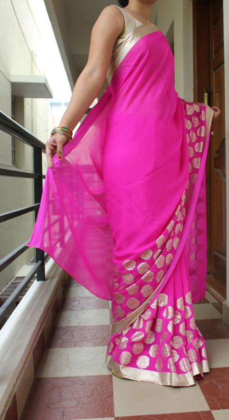 Shocking Pink Georgette Saree