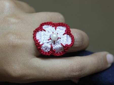 Red and White Crochet Ring