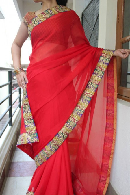 Red Chiffon saree