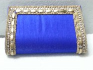 kshitij Silk blue diamond clutch KJC 100