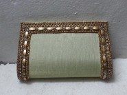 kshitij Silk cream diamond clutch KJC 101