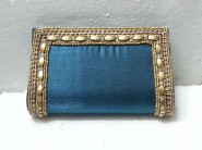 kshitij Silk teal  diamond clutch KJC 104