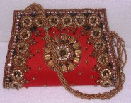 Kshitij Silk Red Clutch (KJC 15)