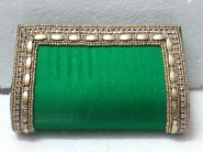 kshitij Silk green diamond clutch KJC 099