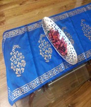 Royal Gold Hand Block Printed Silk Table Runner - Blue
