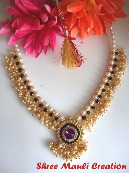 Shree Mauli Creation Wedding Dulhan Magenta Pearl Necklace