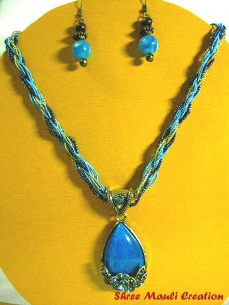 Blue Antic Pendant Necklace
