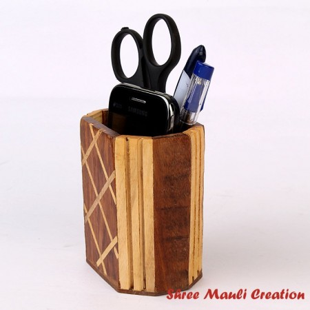 Office Table Wooden Pen Stand