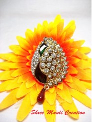 Peacock Maroon Drop Saree Pin Brooch