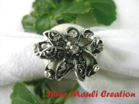 White Stone Flower Ring
